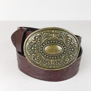 EXPRESS Floral Tooled Leather Belt Western Buckle